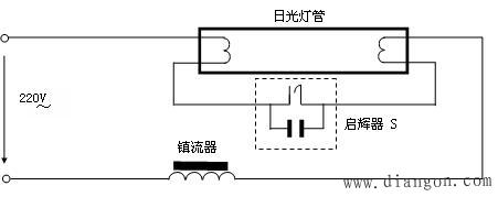 日光灯镇流器接线图