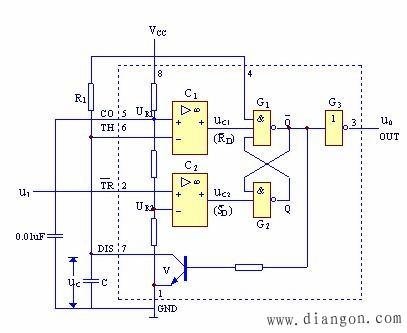 555定时器组成单稳态触发器