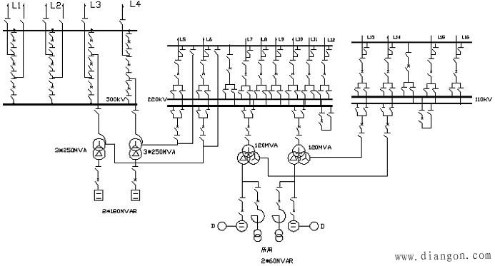 110kv和220kv侧采用双母线带旁路接线形式,并设专用旁路断路器.