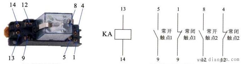在设备中使用的继电器是24v直流继电器,如图共有2组常开和常闭触点