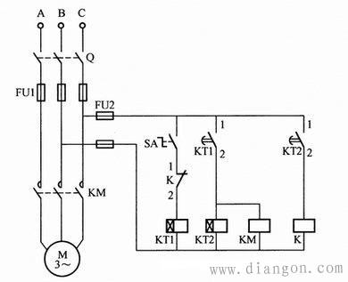 电机一开一停间歇运行控制回路接法图解