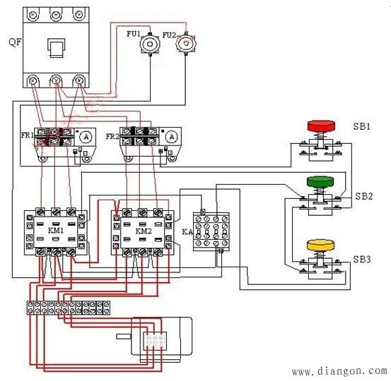 二,控制电路分析(双速电机接线图如下图)     2,按下起动按钮sb2,交流