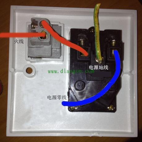 开关控制插座电灯实物接线图_单开五孔插座接线图
