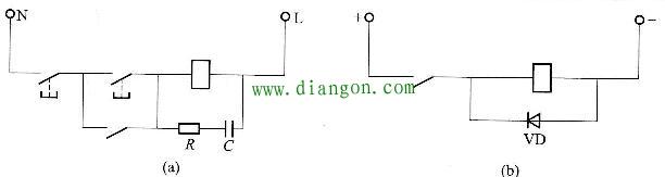 图10 - 13线圈反峰电压吸收电路接线