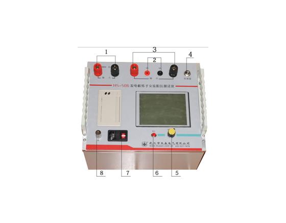 图4-1  广东发电机转子交流阻抗测试仪面板        1,输入端:接调压器