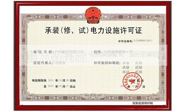 一级电力资质许可证
