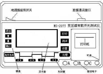 河南MS-207T有载分接开关测试仪(1A)面板结构